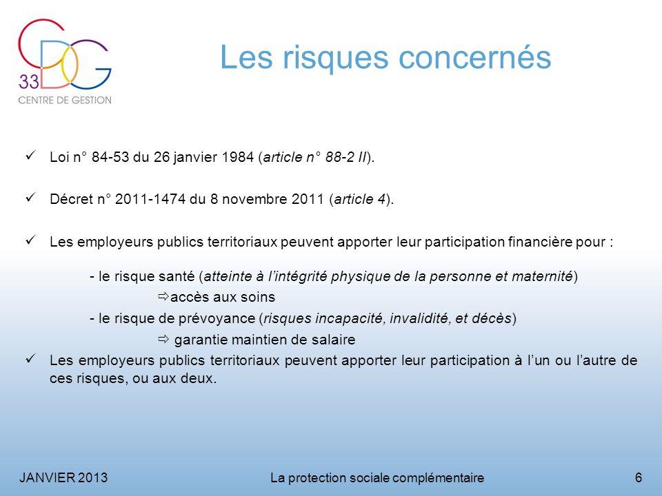JANVIER 2013La protection sociale complémentaire6 Les risques concernés Loi n° 84-53 du 26 janvier 1984 (article n° 88-2 II).