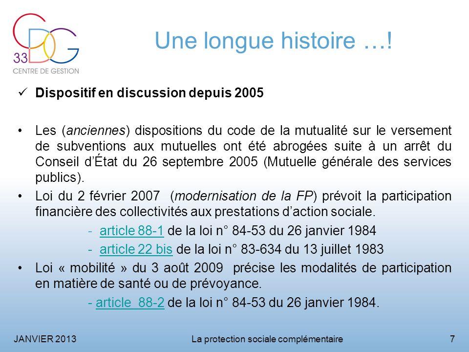 JANVIER 2013La protection sociale complémentaire8 Le cadre statutaire aujourdhui Loi n° 83-634 du 13 juillet 1983 modifiée - article 22 bis.
