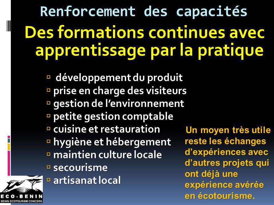 Renforcement des capacités Des formations continues avec apprentissage par la pratique développement du produit prise en charge des visiteurs prise en