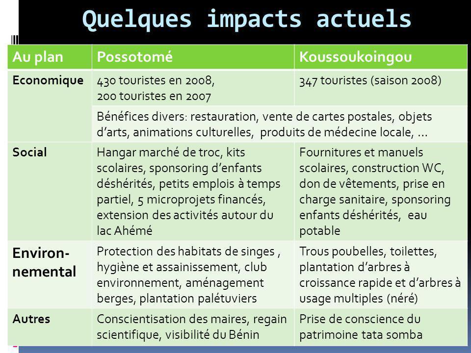 Quelques impacts actuels Au planPossotoméKoussoukoingou Economique430 touristes en 2008, 200 touristes en 2007 347 touristes (saison 2008) Bénéfices d