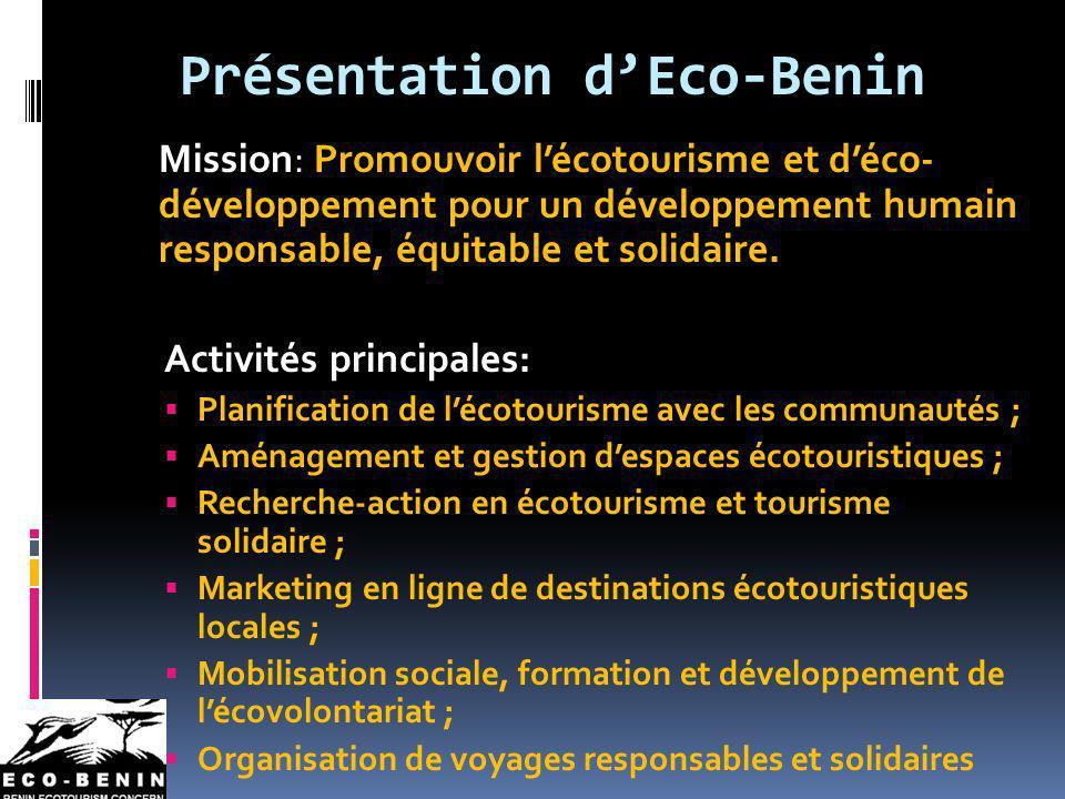 Présentation dEco-Benin Mission: Promouvoir lécotourisme et déco- développement pour un développement humain responsable, équitable et solidaire. Acti