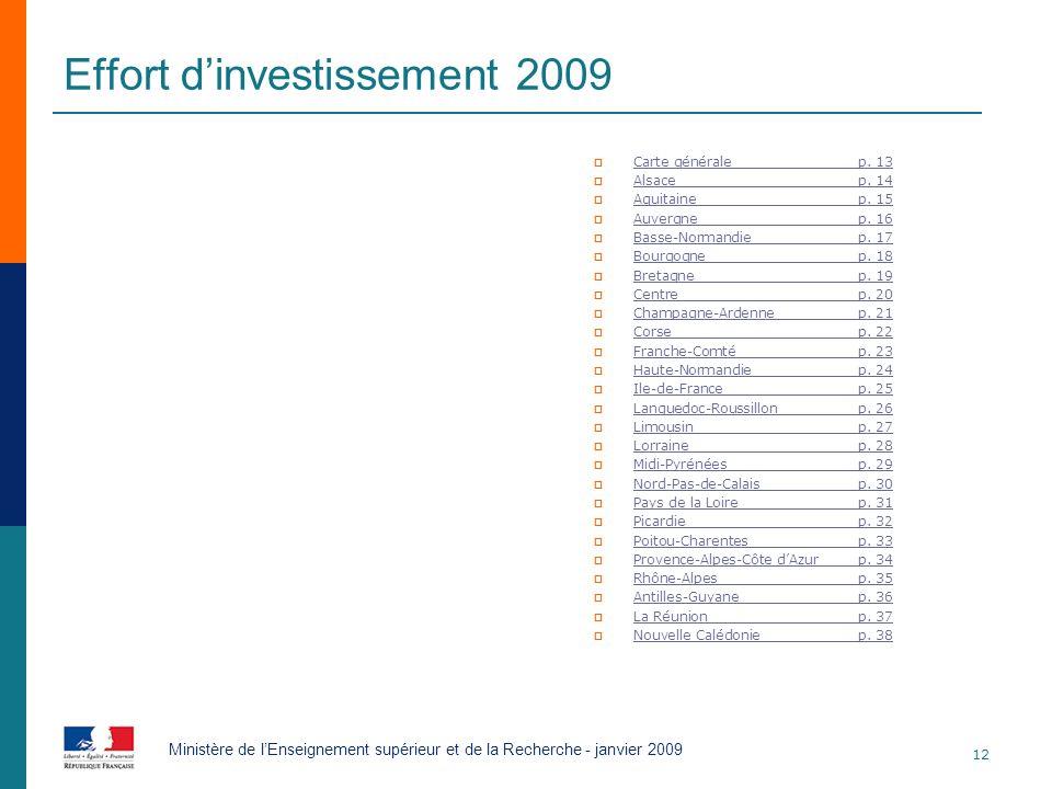 Effort dinvestissement 2009 Carte généralep. 13 Carte généralep. 13 Alsacep. 14 Alsacep. 14 Aquitainep. 15 Aquitainep. 15 Auvergnep. 16 Auvergnep. 16