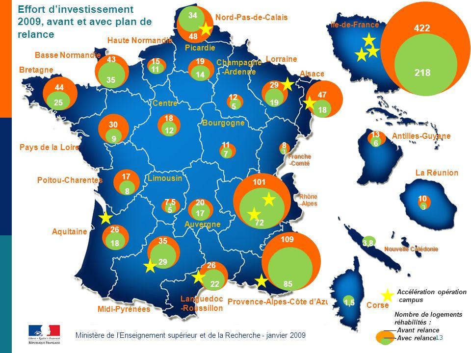 13 Ministère de lEnseignement supérieur et de la Recherche - janvier 2009 Nord-Pas-de-Calais Lorraine Picardie Champagne -Ardenne Alsace Haute Normand
