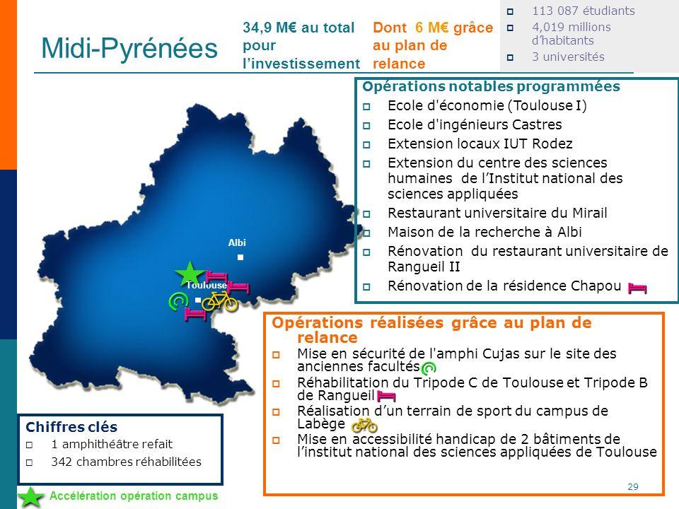 Midi-Pyrénées 113 087 étudiants 4,019 millions dhabitants 3 universités Opérations réalisées grâce au plan de relance Mise en sécurité de l'amphi Cuja