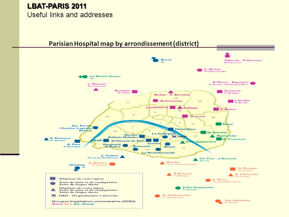 Parisian Hospital map by arrondissement (district) LBAT-PARIS 2011 LBAT-PARIS 2011 Useful links and addresses