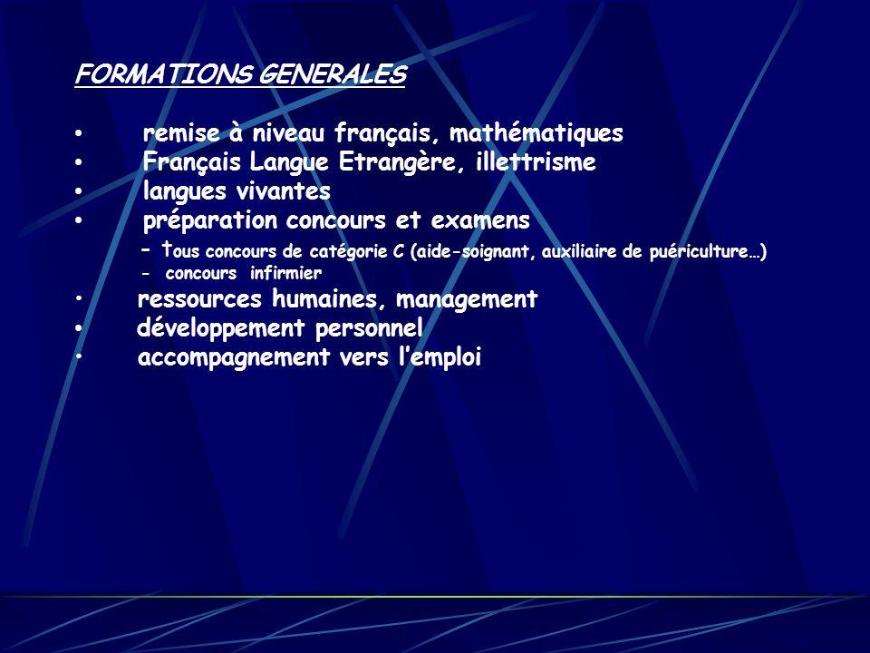 FORMATIONS GENERALES remise à niveau français, mathématiques Français Langue Etrangère, illettrisme langues vivantes préparation concours et examens -