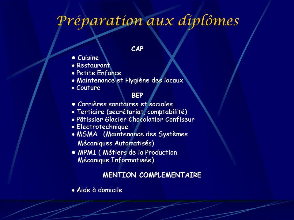 Préparation aux diplômes CAP Cuisine Restaurant Petite Enfance Maintenance et Hygiène des locaux Couture BEP Carrières sanitaires et sociales Tertiair