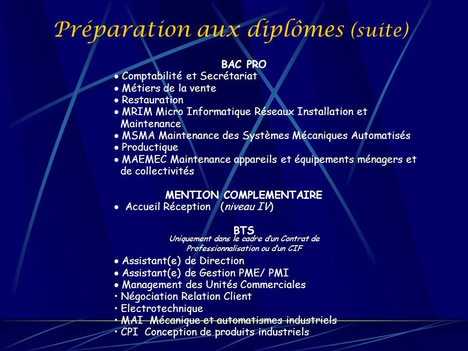 Préparation aux diplômes (suite) BAC PRO Comptabilité et Secrétariat Métiers de la vente Restauration MRIM Micro Informatique Réseaux Installation et