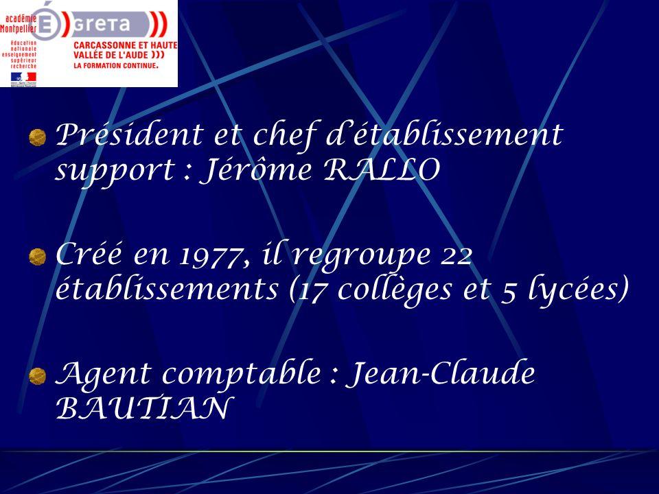 Président et chef détablissement support : Jérôme RALLO Créé en 1977, il regroupe 22 établissements (17 collèges et 5 lycées) Agent comptable : Jean-C