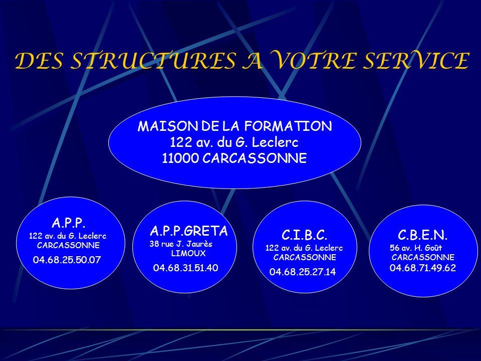 DES STRUCTURES A VOTRE SERVICE MAISON DE LA FORMATION 122 av. du G. Leclerc 11000 CARCASSONNE A.P.P. 122 av. du G. Leclerc CARCASSONNE 04.68.25.50.07