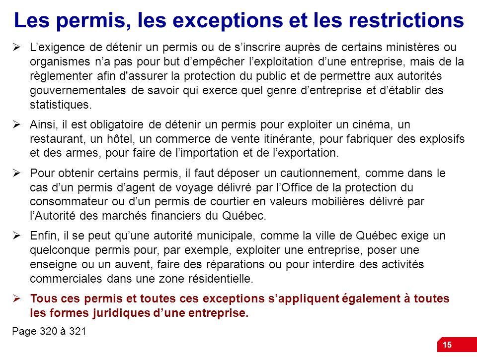 15 Les permis, les exceptions et les restrictions Lexigence de détenir un permis ou de sinscrire auprès de certains ministères ou organismes na pas po