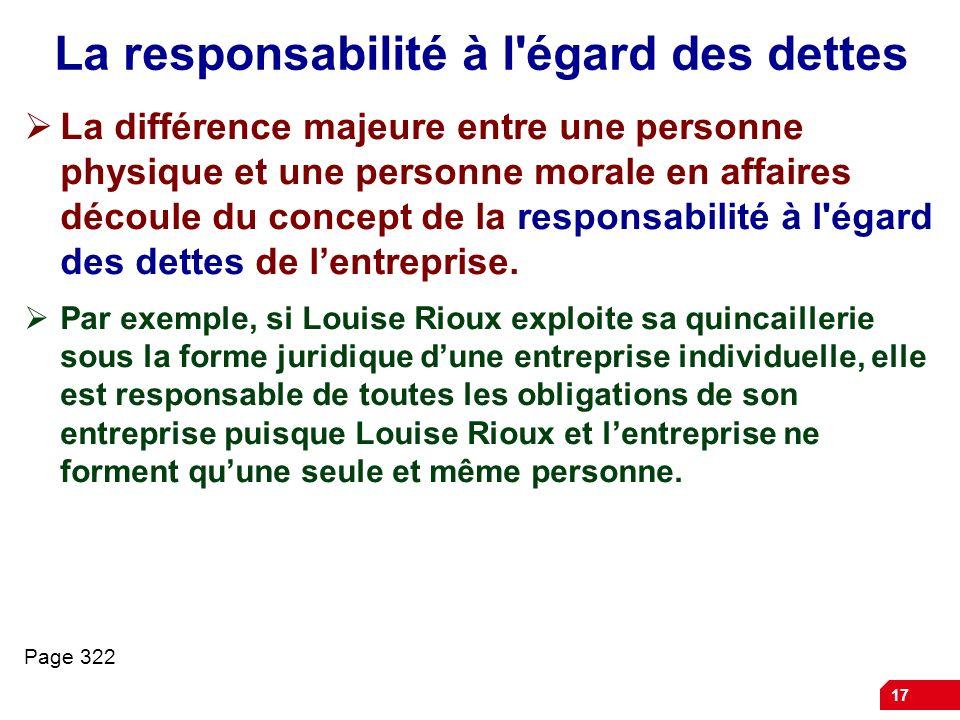 17 La responsabilité à l'égard des dettes La différence majeure entre une personne physique et une personne morale en affaires découle du concept de l