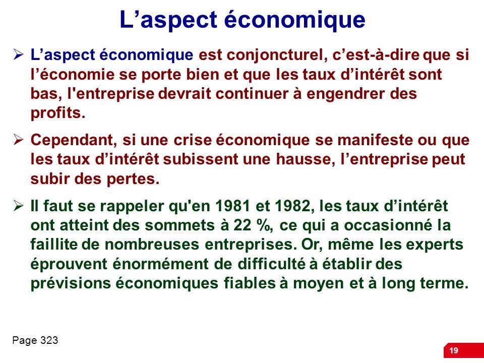 19 Laspect économique Laspect économique est conjoncturel, cest-à-dire que si léconomie se porte bien et que les taux dintérêt sont bas, l'entreprise
