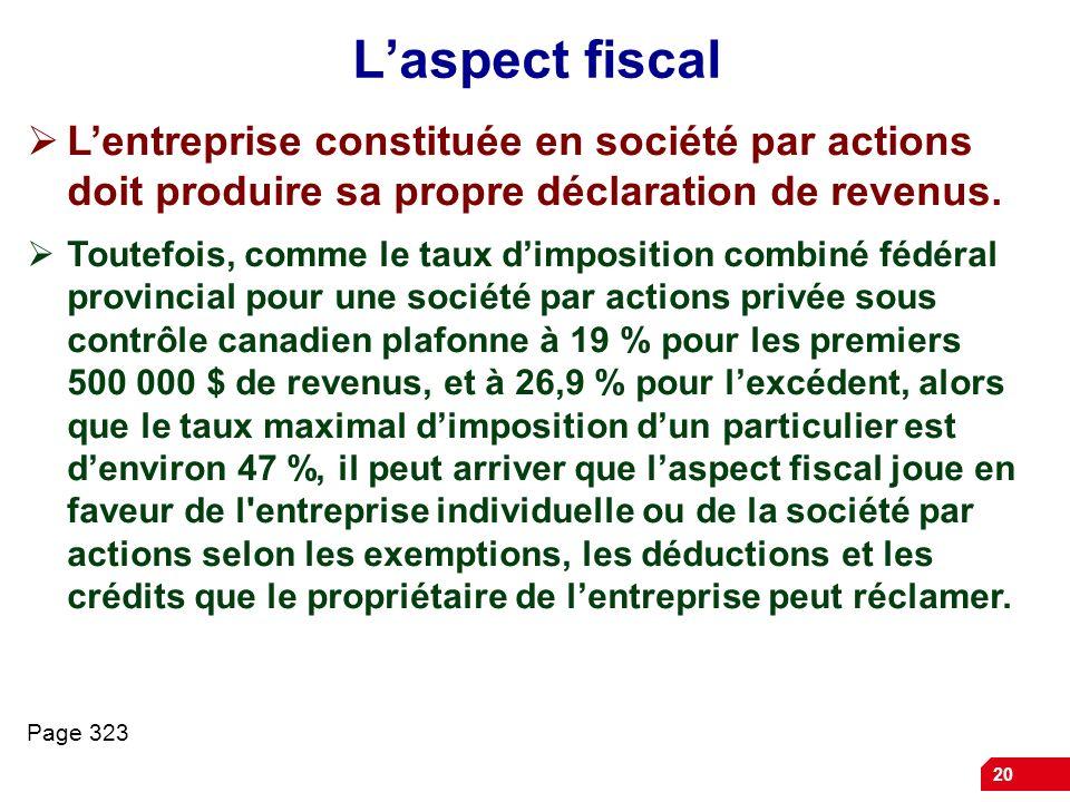 20 Laspect fiscal Lentreprise constituée en société par actions doit produire sa propre déclaration de revenus. Toutefois, comme le taux dimposition c