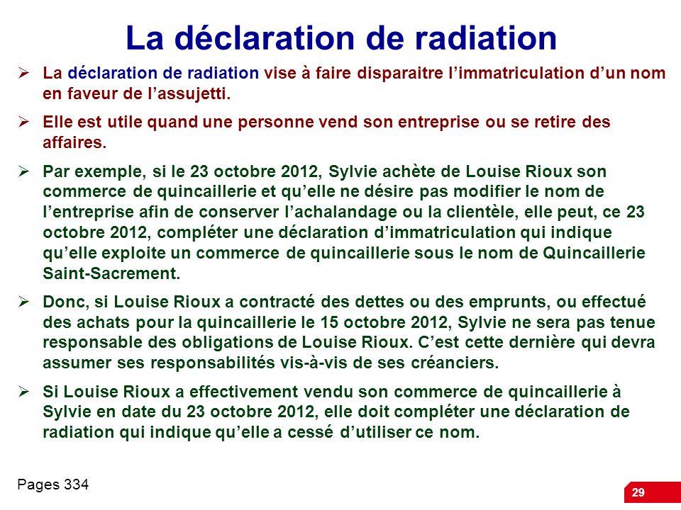 29 La déclaration de radiation La déclaration de radiation vise à faire disparaitre limmatriculation dun nom en faveur de lassujetti. Elle est utile q