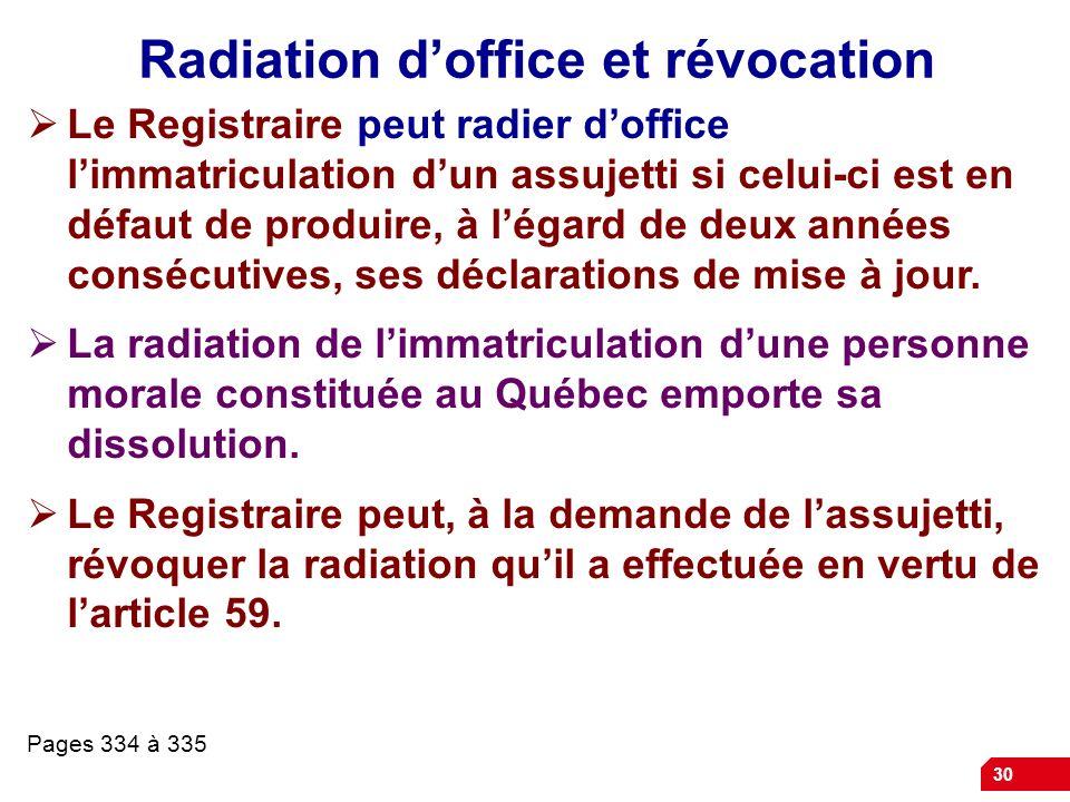 30 Radiation doffice et révocation Le Registraire peut radier doffice limmatriculation dun assujetti si celui-ci est en défaut de produire, à légard d