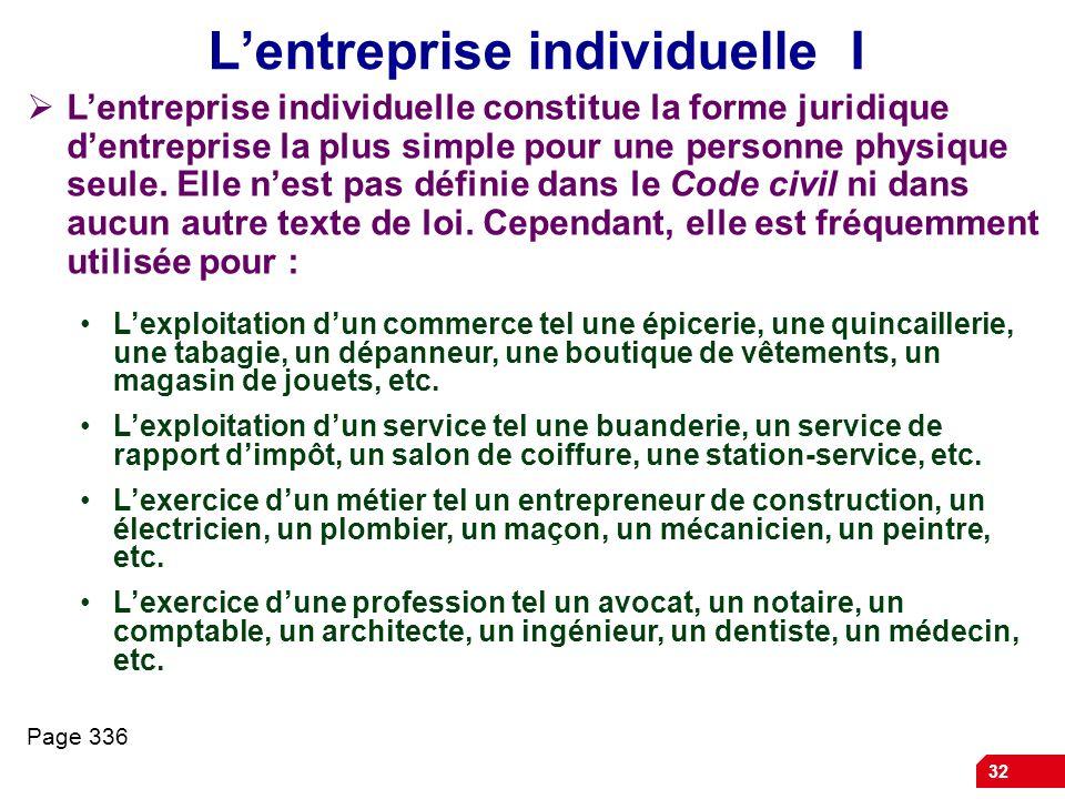 32 Lentreprise individuelle I Lentreprise individuelle constitue la forme juridique dentreprise la plus simple pour une personne physique seule. Elle