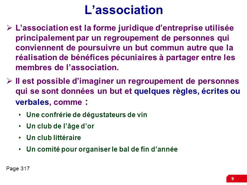 9 Lassociation Lassociation est la forme juridique dentreprise utilisée principalement par un regroupement de personnes qui conviennent de poursuivre