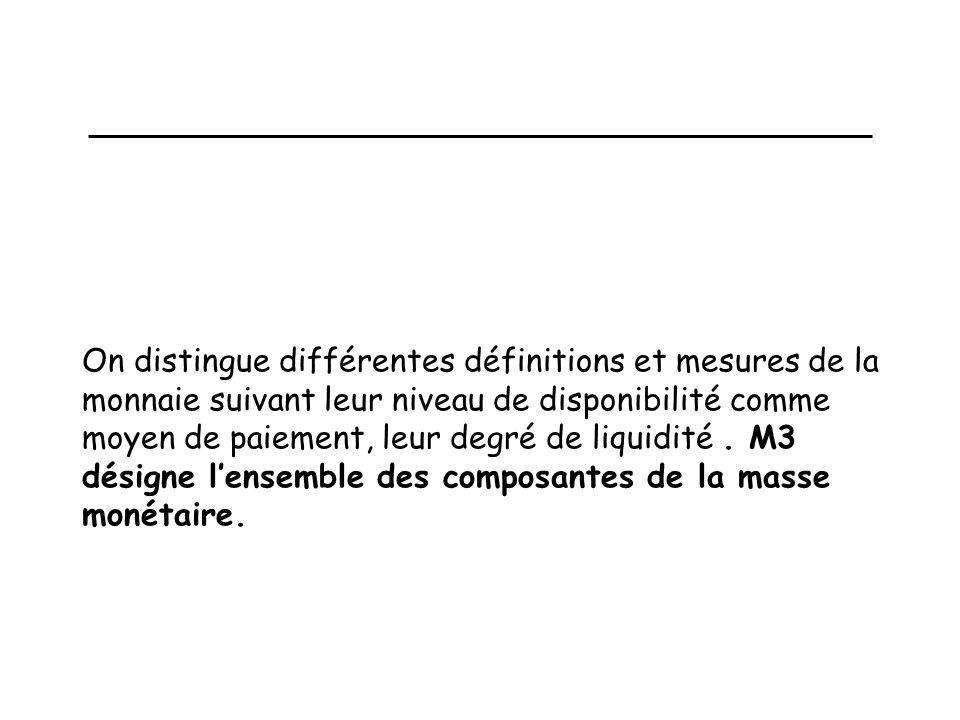 On distingue différentes définitions et mesures de la monnaie suivant leur niveau de disponibilité comme moyen de paiement, leur degré de liquidité.