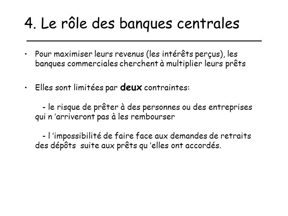 4. Le rôle des banques centrales Pour maximiser leurs revenus (les intérêts perçus), les banques commerciales cherchent à multiplier leurs prêts Elles