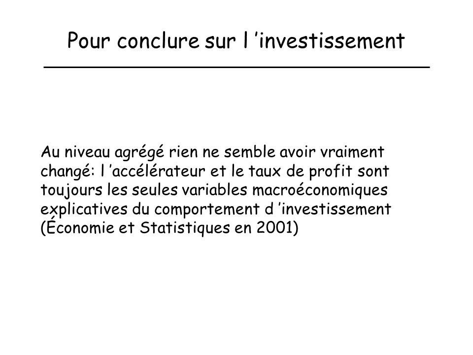 Pour conclure sur l investissement Au niveau agrégé rien ne semble avoir vraiment changé: l accélérateur et le taux de profit sont toujours les seules variables macroéconomiques explicatives du comportement d investissement (Économie et Statistiques en 2001)