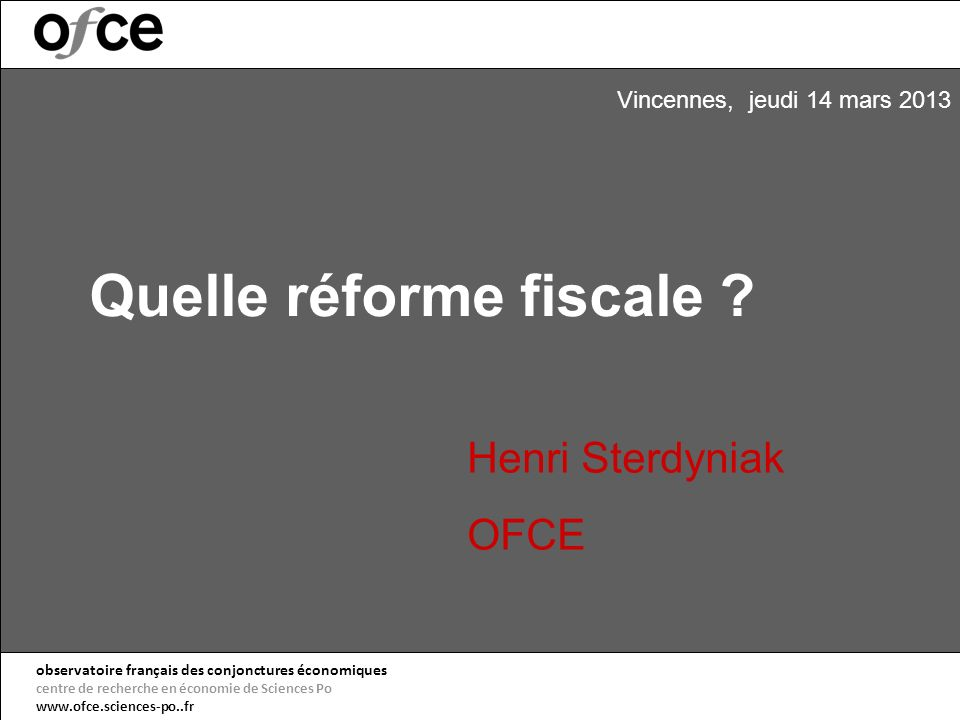 Quelle réforme fiscale .