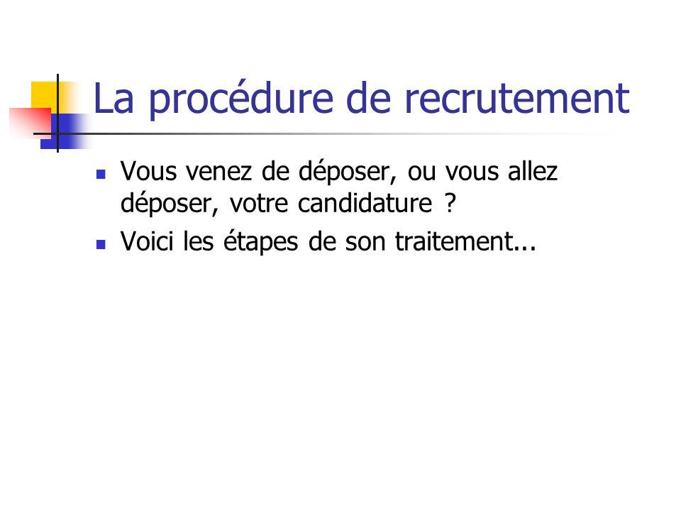 La procédure de recrutement Vous venez de déposer, ou vous allez déposer, votre candidature ? Voici les étapes de son traitement...
