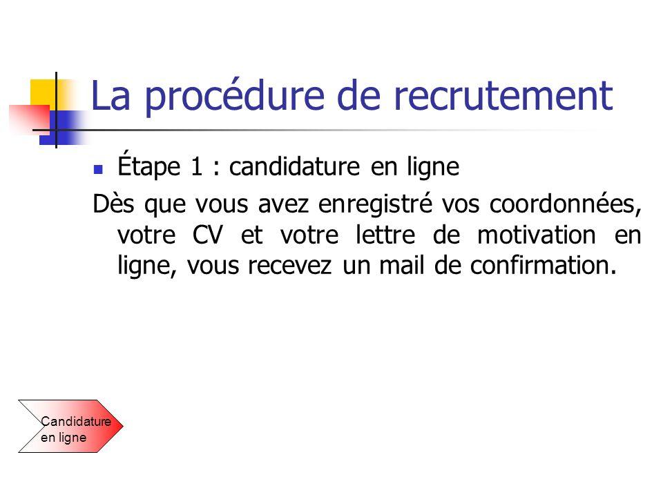 La procédure de recrutement Étape 1 : candidature en ligne Dès que vous avez enregistré vos coordonnées, votre CV et votre lettre de motivation en lig