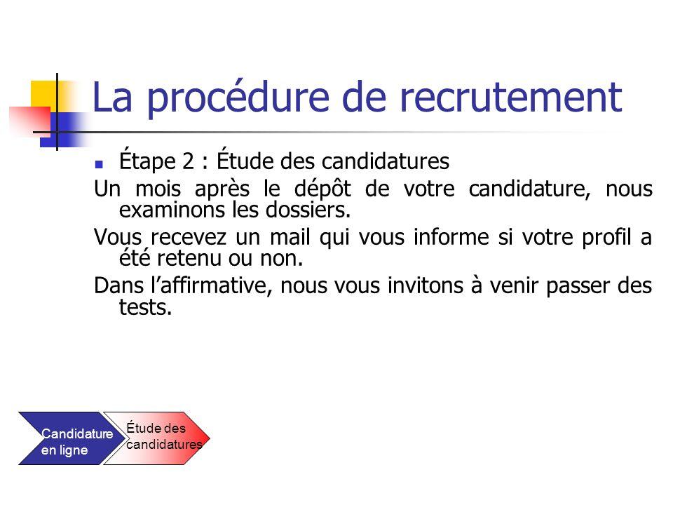 La procédure de recrutement Étape 2 : Étude des candidatures Un mois après le dépôt de votre candidature, nous examinons les dossiers. Vous recevez un
