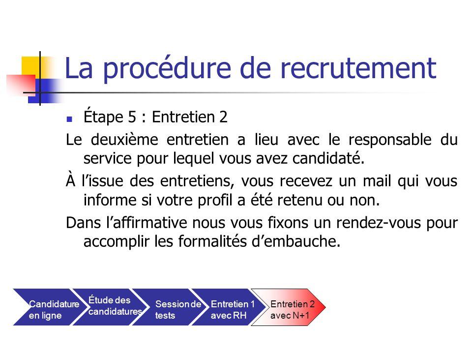La procédure de recrutement Étape 5 : Entretien 2 Le deuxième entretien a lieu avec le responsable du service pour lequel vous avez candidaté. À lissu