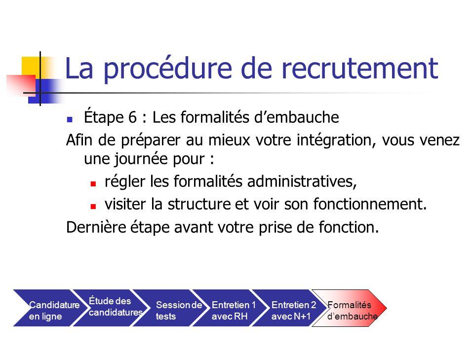 La procédure de recrutement Étape 6 : Les formalités dembauche Afin de préparer au mieux votre intégration, vous venez une journée pour : régler les f