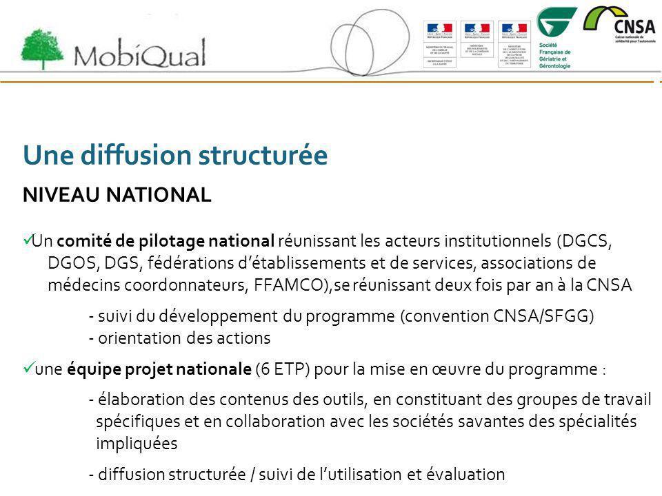 Une diffusion structurée NIVEAU NATIONAL Un comité de pilotage national réunissant les acteurs institutionnels (DGCS, DGOS, DGS, fédérations détabliss