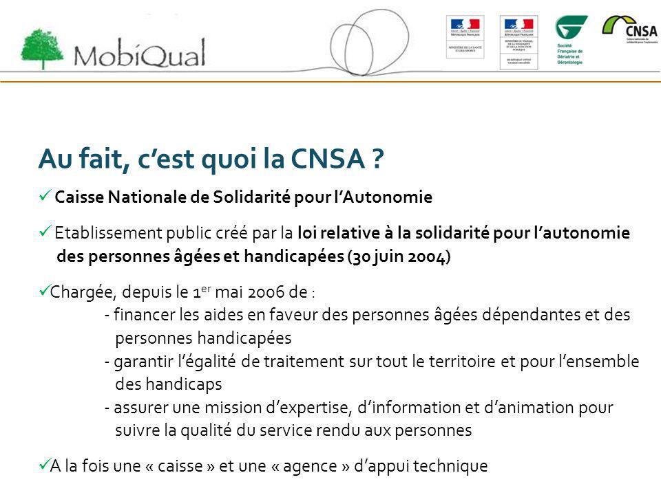 Au fait, cest quoi la CNSA ? Caisse Nationale de Solidarité pour lAutonomie Etablissement public créé par la loi relative à la solidarité pour lautono