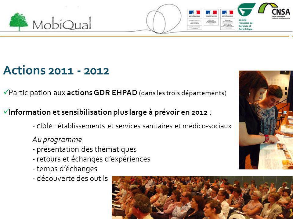 Actions 2011 - 2012 Participation aux actions GDR EHPAD (dans les trois départements) Information et sensibilisation plus large à prévoir en 2012 : -