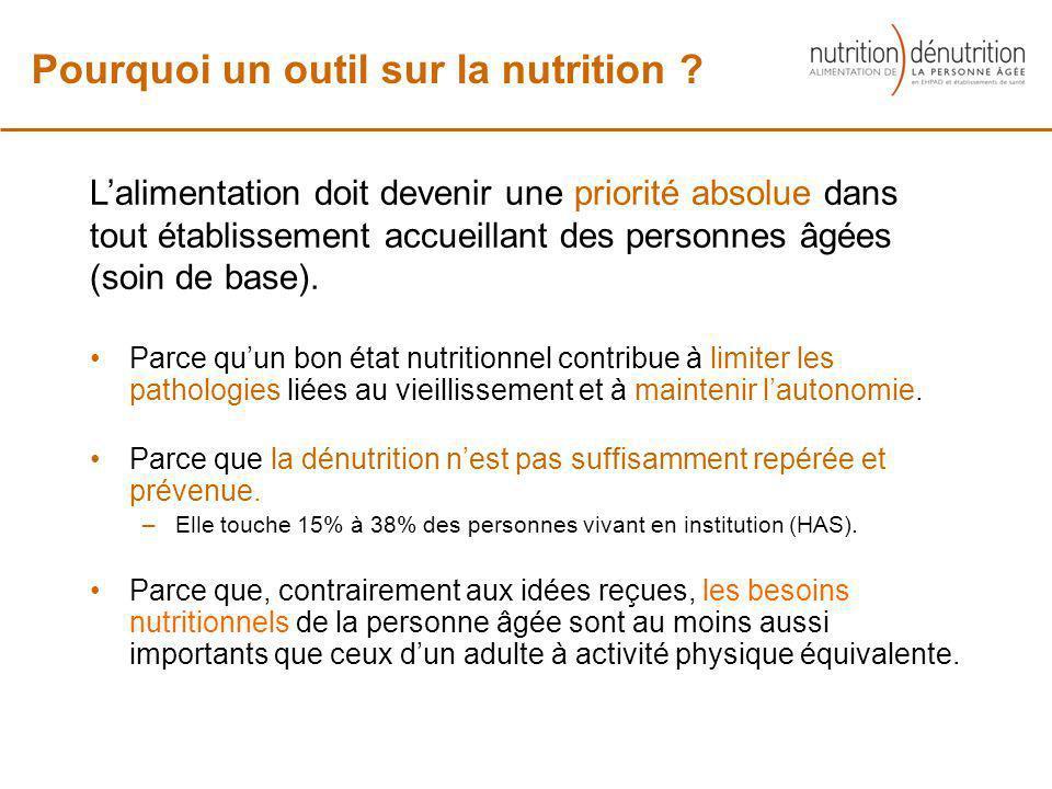 Parce quun bon état nutritionnel contribue à limiter les pathologies liées au vieillissement et à maintenir lautonomie. Parce que la dénutrition nest