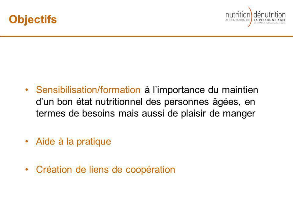 Sensibilisation/formation à limportance du maintien dun bon état nutritionnel des personnes âgées, en termes de besoins mais aussi de plaisir de mange