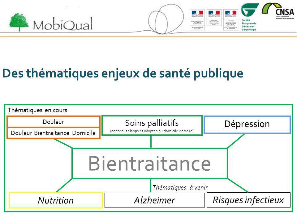 Des thématiques enjeux de santé publique Thématiques en cours Thématiques à venir Bientraitance Douleur Soins palliatifs (contenus élargis et adaptés