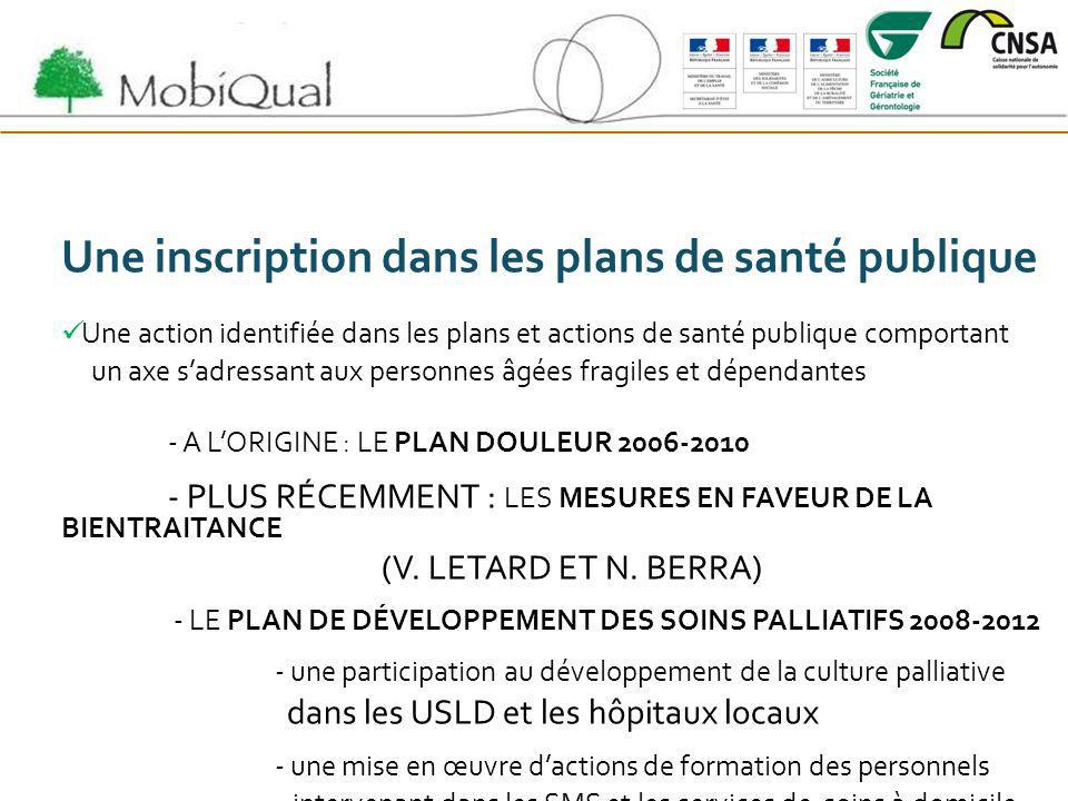 Une inscription dans les plans de santé publique Une action identifiée dans les plans et actions de santé publique comportant un axe sadressant aux pe