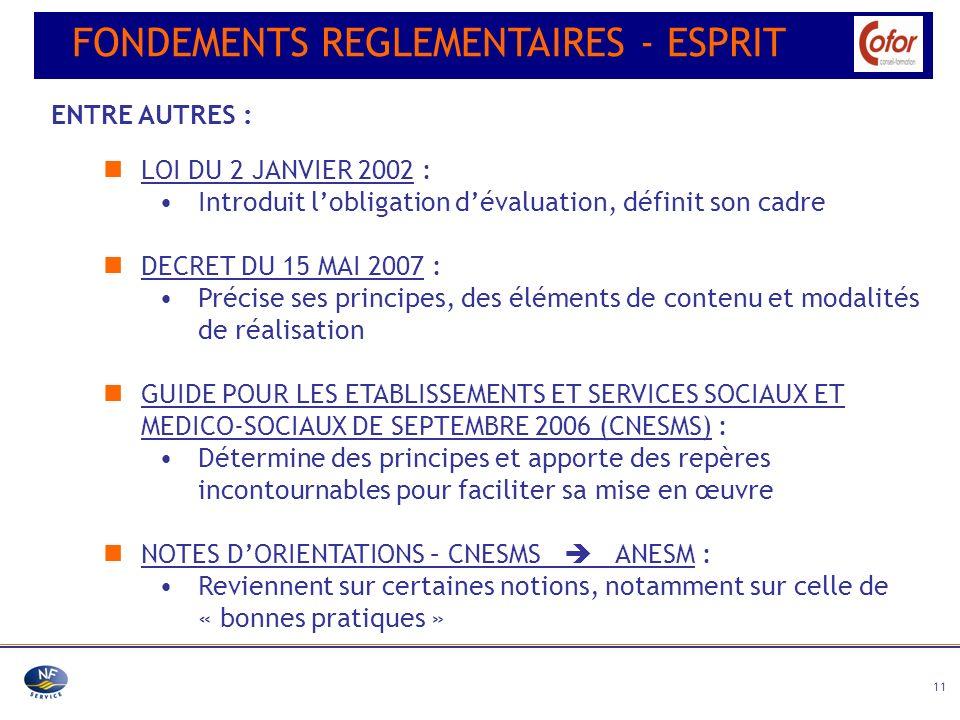 11 LOI DU 2 JANVIER 2002 : Introduit lobligation dévaluation, définit son cadre DECRET DU 15 MAI 2007 : Précise ses principes, des éléments de contenu