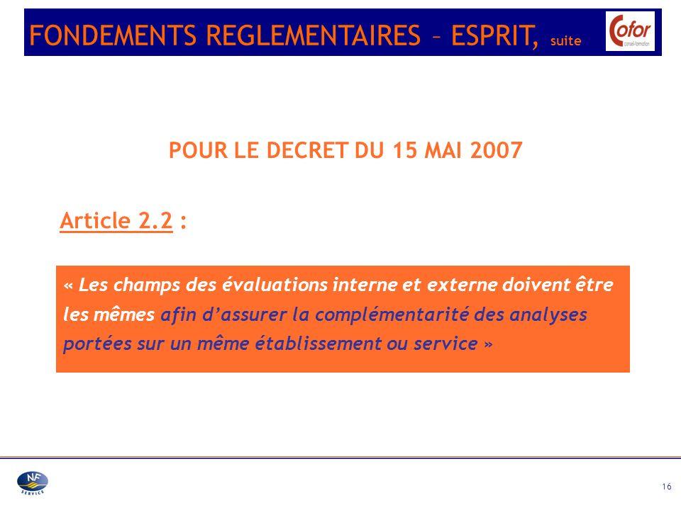16 POUR LE DECRET DU 15 MAI 2007 Article 2.2 : « Les champs des évaluations interne et externe doivent être les mêmes afin dassurer la complémentarité