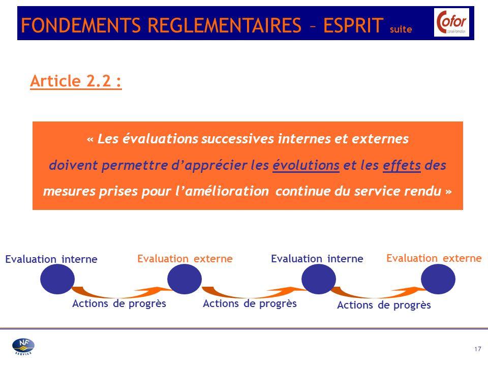 17 Article 2.2 : « Les évaluations successives internes et externes doivent permettre dapprécier les évolutions et les effets des mesures prises pour