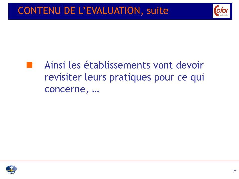 19 Ainsi les établissements vont devoir revisiter leurs pratiques pour ce qui concerne, … CONTENU DE LEVALUATION, suite