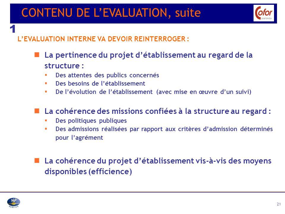 21 La pertinence du projet détablissement au regard de la structure : Des attentes des publics concernés Des besoins de létablissement De lévolution d