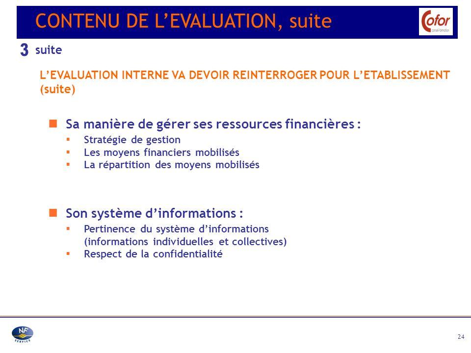 24 Son système dinformations : Pertinence du système dinformations (informations individuelles et collectives) Respect de la confidentialité CONTENU D