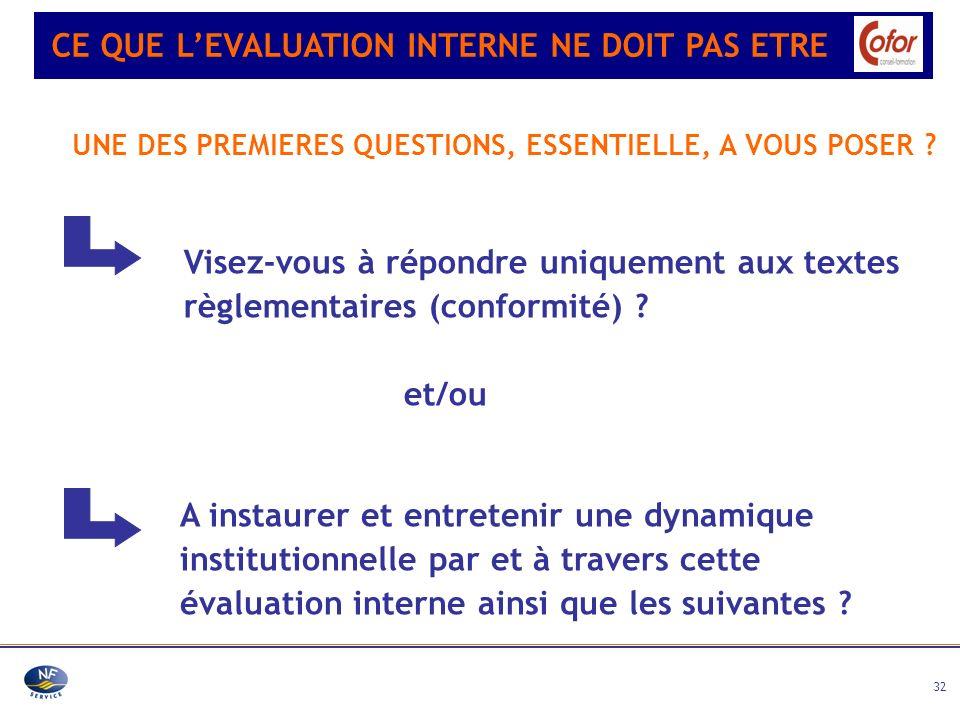 32 A instaurer et entretenir une dynamique institutionnelle par et à travers cette évaluation interne ainsi que les suivantes ? Visez-vous à répondre