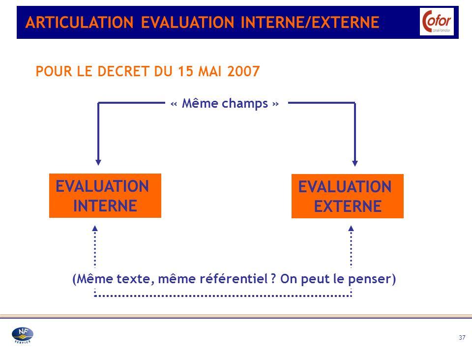 37 ARTICULATION EVALUATION INTERNE/EXTERNE POUR LE DECRET DU 15 MAI 2007 EVALUATION INTERNE EVALUATION EXTERNE « Même champs » (Même texte, même référ