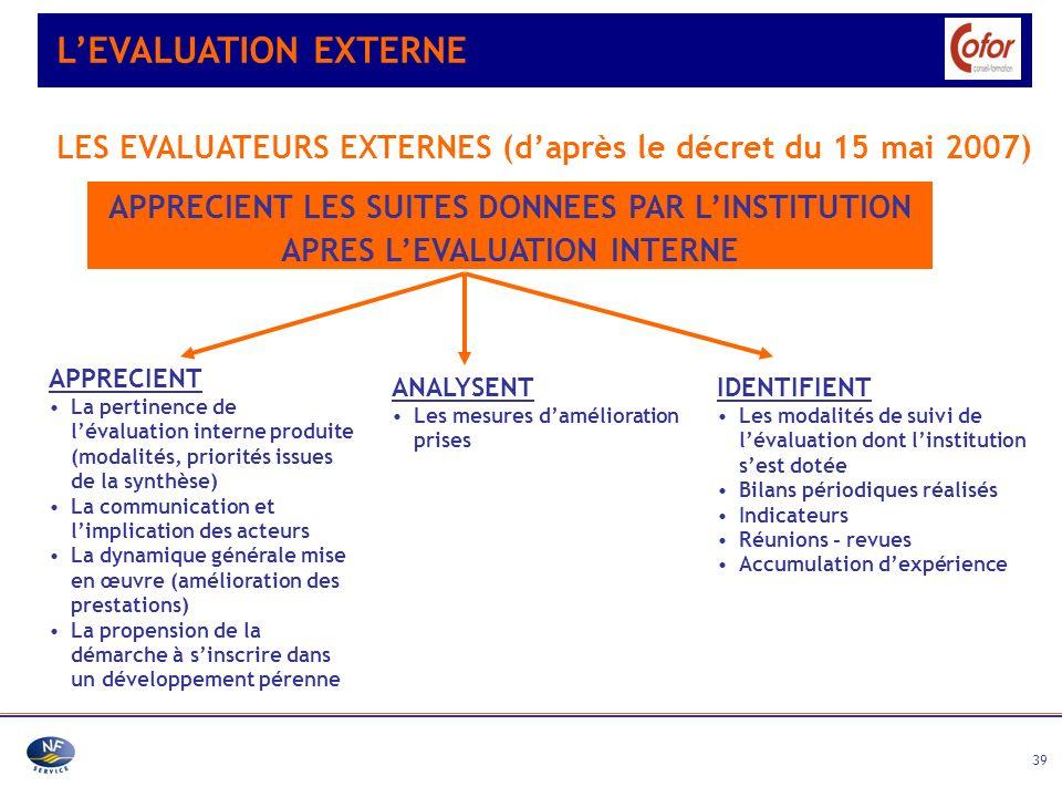 39 LEVALUATION EXTERNE APPRECIENT LES SUITES DONNEES PAR LINSTITUTION APRES LEVALUATION INTERNE LES EVALUATEURS EXTERNES (daprès le décret du 15 mai 2