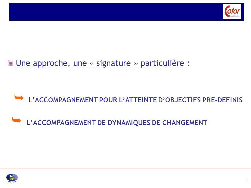 4 Une approche, une « signature » particulière : L ACCOMPAGNEMENT POUR L ATTEINTE D OBJECTIFS PRE-DEFINIS L ACCOMPAGNEMENT DE DYNAMIQUES DE CHANGEMENT