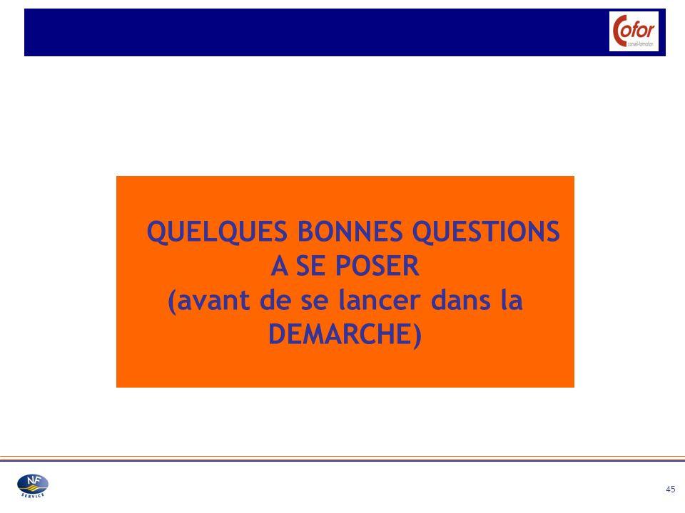 45 QUELQUES BONNES QUESTIONS A SE POSER (avant de se lancer dans la DEMARCHE)