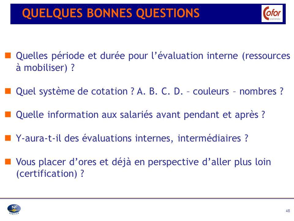 48 Quelles période et durée pour lévaluation interne (ressources à mobiliser) ? Quel système de cotation ? A. B. C. D. – couleurs – nombres ? Quelle i
